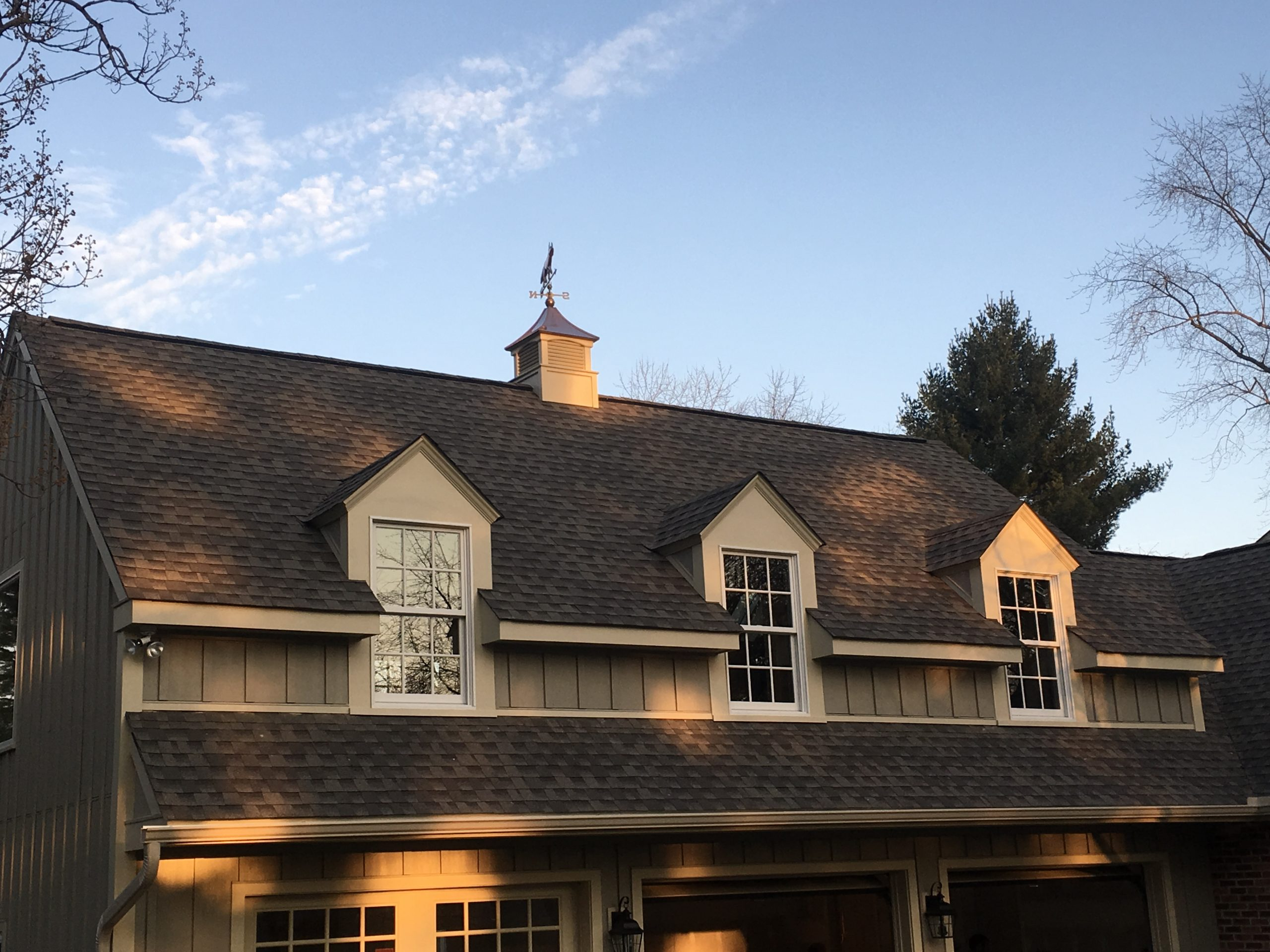 Shingle roof with a weather vane