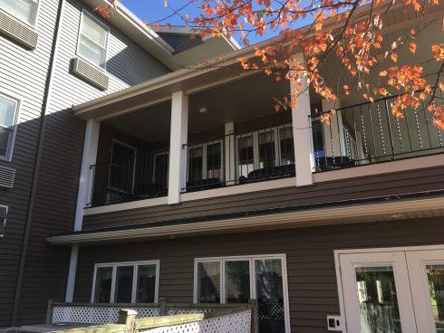 The deck of a unit in Lawn Terrace Retirement Community