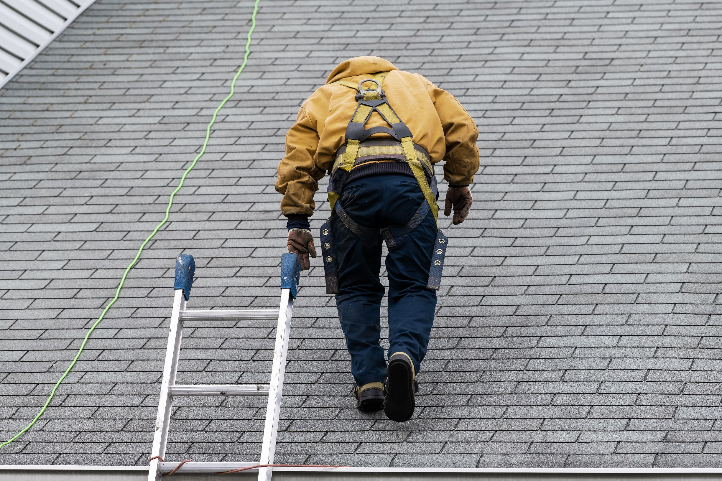Man on shingle roof performing inspection